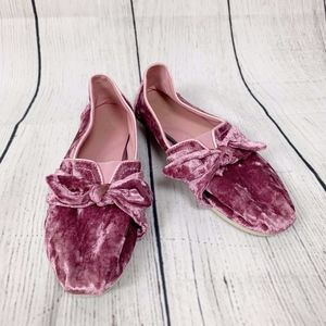 Toms Pink Suede Bow Detail 8.5